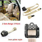 2 Sets Beige Retractable Car Safety Seat Belts Lap Safety Belt 3 Point Seatbelts