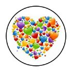 48 Colorful Hearts  ENVELOPE SEALS LABELS STICKERS 12 ROUND