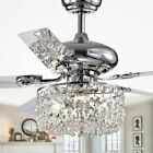 Crystal Chandelier Ceiling Fan Light Fixture Remote Drop Dome Silver Lighting 49