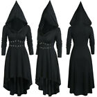 Women's Plus Size Hooded Lace Up Gothic Criss Cross Retro Full Sleeve Long Dress