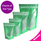 Multi Size Matte Front Clear Green Back Foil Mylar Stand Up Zip Lock Pouch Bag