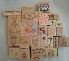 Mixed Lot of 27 Rubber Stamps Holiday Birthday Friends Love Hearts New Baby