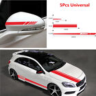 5Pcs Red Stripe Vinyl Decals Stickers Decor For Car Side Hood Rearview Mirror