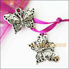 Mixed Set 8 pcs BIG BEAUTIFUL BUTTERFLY Charms Silver Alloy TWO each FREE SHIP