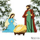 3 Pc Christmas Nativity Set Outdoor Lawn Holiday Stakes Holy Family Decor NEW