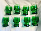Green Forest Vintage Glasses Anchor Hocking Set Of 8 Chunky 6-8 Oz.