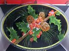 Peggy Karr Fused Glass Tray Beautiful Snowy Hollyberries  Pinecones 175x125