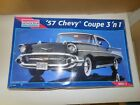 MONOGRAM 1/12 Scale '57 Chevy Coupe 3' n 1 Model Kit #2800 open box sealed bags