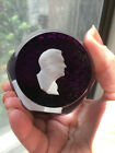 FRANKLIN ROOSEVELT CAMEO GLASS PAPERWEIGHT LE SULPHIDE wpurple glass bottom