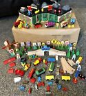 100+pc lot Thomas the Train Brio Wooden Track Roundhouse Shed Signs People More