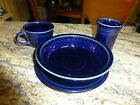 Midnight Blue Fiesta Ware Soup Bowl, Bread Plate, Tumbler & Coffee Cup Set