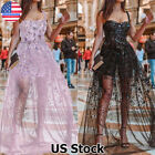 Women's Sequin Tulle Maxi Dress Ladies Evening Party Ball Prom Long Dresses Gown