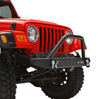 Front Bumper Black Textured with Hoop Fit for 87-06 Jeep Wrangler TJ YJ