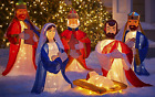 FuLL SET 6 Pc Nativity Holy FAMILY SPARKLE Lighted Yard Sculpture Christmas Yard