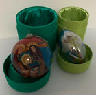 Lot 2 Pier 1 Nativity Round Tear Drop Angel Li Bien Glass Ornament Handpainted
