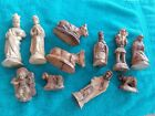 Vintage 11 PIECE WOOD NATIVITY SET Hand Carved SET Wooden Jesus Mary 3 Kings
