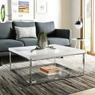 Modern MDF Wood Top Glass Chrome Frame Square Living Room Coffee Table WHITE