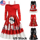 Women's Christmas Off Shoulder Swing Dress Ladies Long Sleeve Party Skater Dress