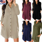 Women Lapel V Neck Long Sleeve Blouse Button Down Tops Casual Loose Mini Dress