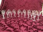 Vintage Daisy Pattern Etched Crystal Wine And Cordial Glasses