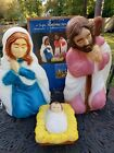 Vintage General Foam 3 Piece Nativity Blow Mold Set Jesus Mary Joseph Made USA
