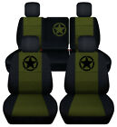Frontrear Car Seat Covers Blk-hunter Green Fits Jeep Liberty Limited 02-07