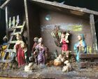 Vintage FONTANINI Nativity Depose Italy Set of 11 Figures With Creche Stable