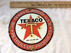Vintage Texaco Porcelain Gas and Oil Pump Plate 10-6-33