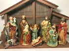 North Pole Trading Co 11 Piece Nativity Set Wood Stable Painted Ceramic Figures