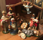 Vintage Hand Painted Nativity Scene Papier Mache Composition Japan W Box Large