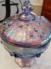 FENTON ART GLASS QVC 2002 VIOLET IRIDIZED COVERED CANDY DISH STAMPED