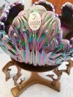 FENTON ART GLASS IRIDIZED PLUM OPALESCENT LEAF ROSE BOWL WITH STAND