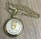 Mens Pocket Watch Quartz Two Tone Liberty 1972 Coin Case Gold Dial Easy Reader