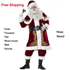 8pcs Set Mens Santa Claus Suit Deluxe Father Christmas Xmas Fancy Dress cos NEW