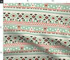 Boho Geometric Stripe Home Decor Native Mint Fabric Printed by Spoonflower BTY
