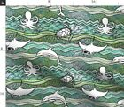 Sea Creature Watercolor Turtle Dolphins Fabric Printed by Spoonflower BTY