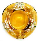 Czech Bohemian Amber Art Glass Ashtray with Hand Painted Flowers Vintage