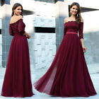 Ever-Pretty Floral Lace Formal Prom Dresses Off Shoulder Mesh Bridesmaid Gown US