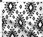 Boho Aztec Black White Native Ethnic Fabric Printed by Spoonflower BTY