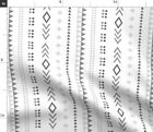 Gray Stripe Geometric Tribal Native Aztec Fabric Printed by Spoonflower BTY