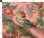Edwardian Parrot Tropical Bird Botanical Antique Spoonflower Fabric by the Yard