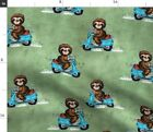 Scooter Sloths Whimsical Sloth Moped Retro Fabric Printed by Spoonflower BTY