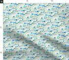 Dolphins Watercolor Fish Marine Life Sea Ocean Fabric Printed by Spoonflower BTY