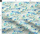 Dolphins Marine Life Nautical Sea Fabric Printed by Spoonflower BTY