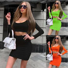 Women 2pcs Bodycon Jumpsuit Set Bandage Crop Top+Skirts Casual Outfits Clubwear