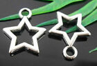 8 pieces New HOLLOW SILVER STAR Charm Silver Metal Alloy 12x10 mm FREE SHIPPING