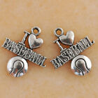 Mixed Set 6 New BASEBALL Charms Tibet Silver Metal Alloy ONE each FREE SHIP
