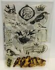 Clear Art Stamps BIRD COLLAGE Clear Rubber Stamps Set