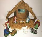 Vintage Paper Mache Nativity Set Wood Crche Manger Japan 12 IN ORIGINAL BOX