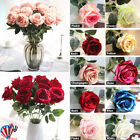 5 20 Large Artificial Velvet Effect Rose Bouquet Silk Flowers Floral Wedding UK